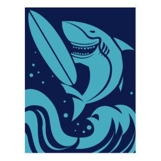 Funny Surfer Shark postcard