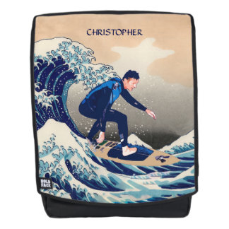 Funny Surfer Surfing On The Hokusai Great Wave Backpack