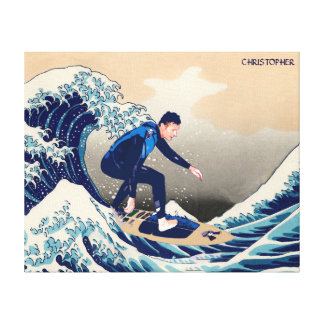 Funny Surfer Surfing On The Hokusai Great Wave Canvas Print