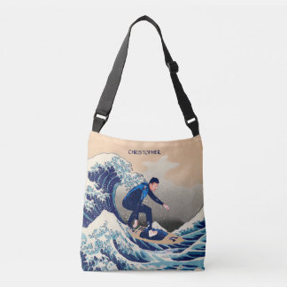 Funny Surfer Surfing On The Hokusai Great Wave Crossbody Bag
