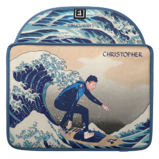 Funny Surfer Surfing On The Hokusai Great Wave MacBook Pro Sleeve