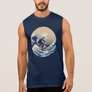 Funny Surfer Surfing On The Hokusai Great Wave Sleeveless T-shirt