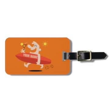 Beach Themed Funny Surfer with Cocktail custom luggage tag