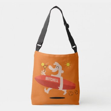 Beach Themed Funny Surfer with Cocktail custom name bags