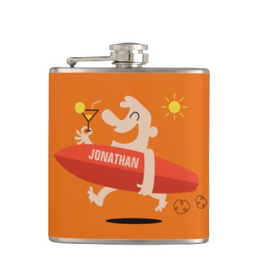 Beach Themed Funny Surfer with Cocktail custom name flask
