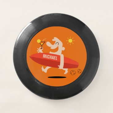 Beach Themed Funny Surfer with Cocktail custom name frisbee