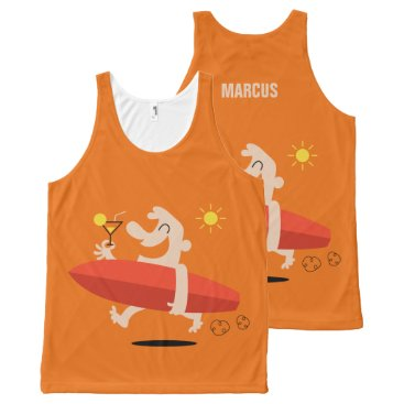 Beach Themed Funny Surfer with Cocktail custom name tank top