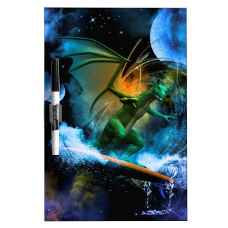 Funny surfing dragon Dry-Erase whiteboards