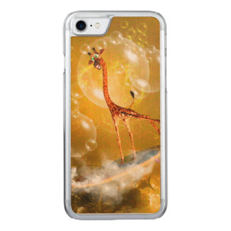 Funny surfing giraffe carved iPhone 7 case