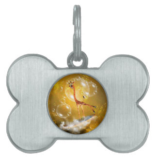 Funny surfing giraffe with wave and bubbles pet tag