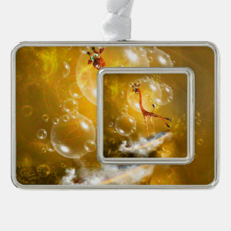 Funny surfing giraffe with wave christmas ornament