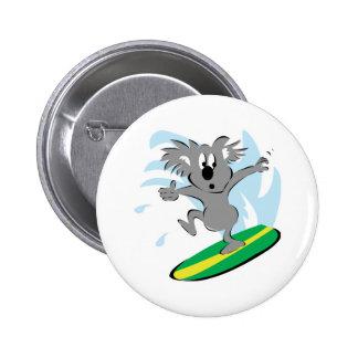 funny surfing koala bear button