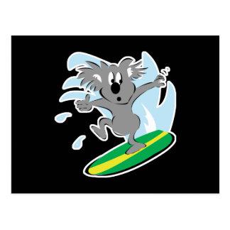 funny surfing koala bear postcard