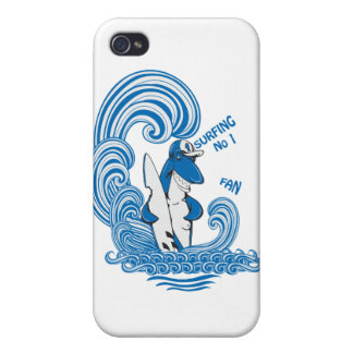 funny surfing shark vector cartoon art cases for iPhone 4