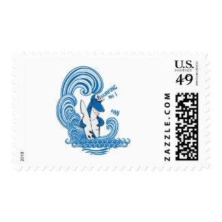 funny surfing shark vector cartoon art stamp