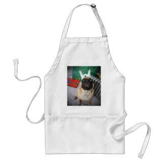 Funny surprised Holiday (Christmas) Pug dog Adult Apron