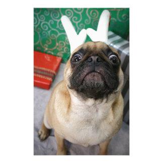 Funny surprised Holiday (Christmas) Pug dog Stationery