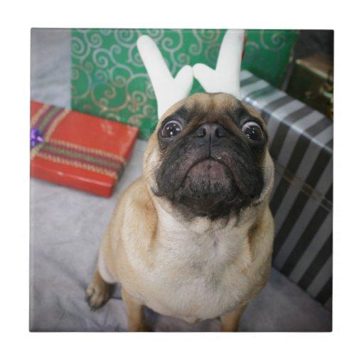 Funny surprised Holiday (Christmas) Pug dog Ceramic Tile