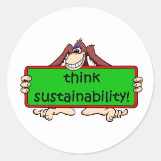 funny sustainability round sticker