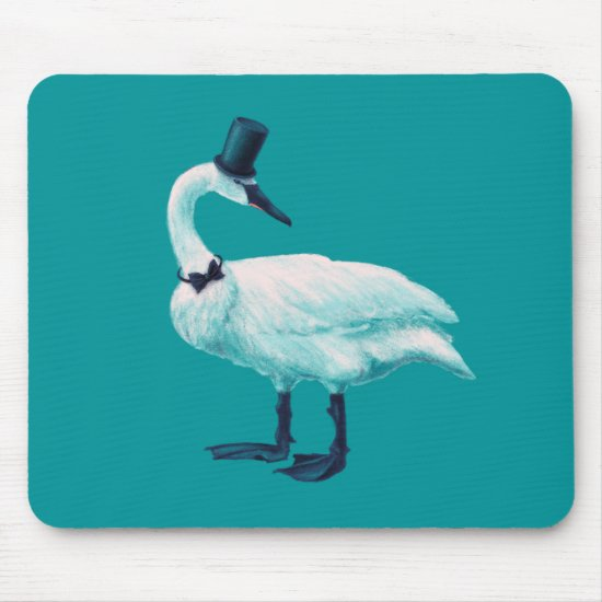 Funny Swan Gentleman With Bowtie And Top Hat Mouse Pad