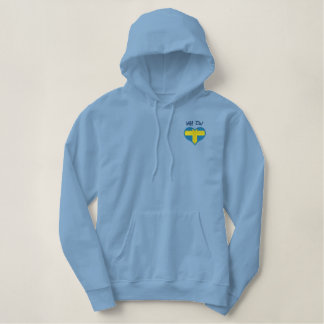 Funny Swedish Uff Da with Heart  Flag of Sweden Embroidered Hoodie
