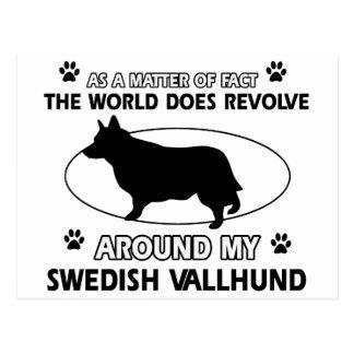 Funny swedish vallhund designs postcard