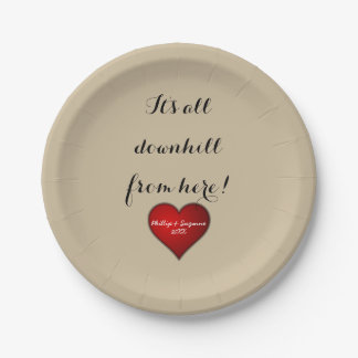 Funny Sweet Wedding Red Heart with Names and Year Paper Plate