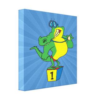 funny swimmer champ alligator crocodile canvas print