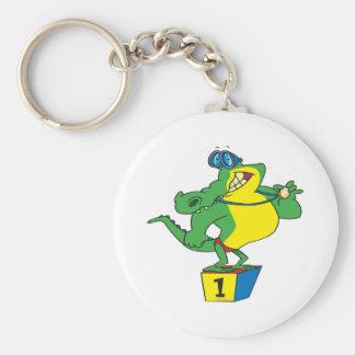 funny swimmer champ alligator crocodile basic round button keychain