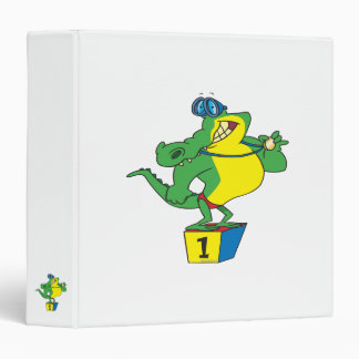 funny swimmer champ alligator crocodile vinyl binders
