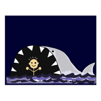 Funny Swimmer Surprised by Shark Cartoon Postcard