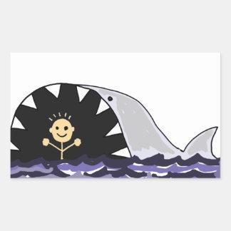 Funny Swimmer Surprised by Shark Cartoon Rectangular Sticker