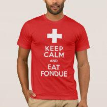 Funny Swiss Ski Resort Keep Calm and Eat Fondue T-Shirt