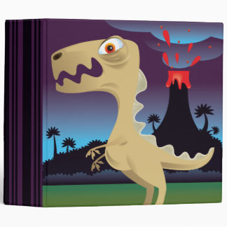 Funny T-Rex and Volcano Notebook Binder