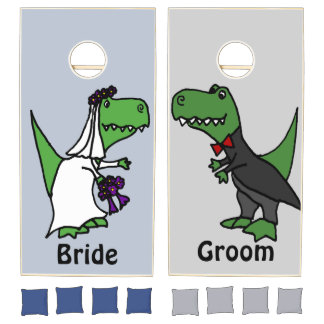 Funny T-Rex Bride and Groom Wedding Cornhole Set