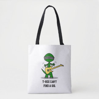 Funny T-Rex Can't Find a Gig Guitar Music Tote Bag