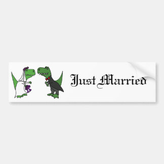Funny T-rex Dinosaur Bride and Groom Wedding Art Bumper Sticker