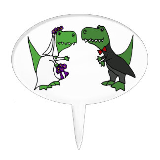 Funny T-rex Dinosaur Bride and Groom Wedding Art Cake Topper
