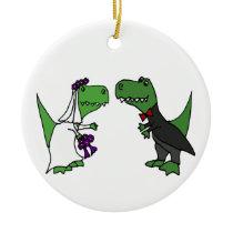 Funny T-rex Dinosaur Bride and Groom Wedding Art Ceramic Ornament