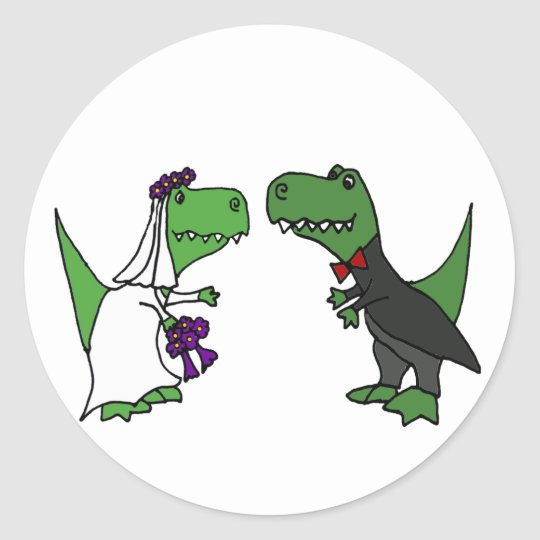 Funny T Rex Dinosaur Bride And Groom Wedding Art Classic Round Sticker Zazzle Com