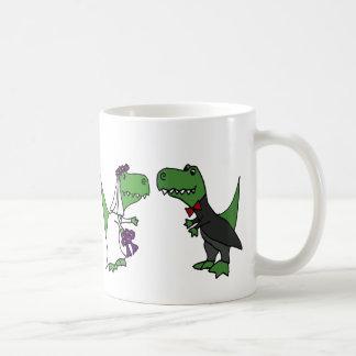Funny T-rex Dinosaur Bride and Groom Wedding Art Classic White Coffee Mug