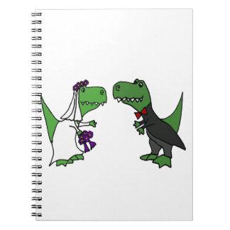 Funny T-rex Dinosaur Bride and Groom Wedding Art Notebook