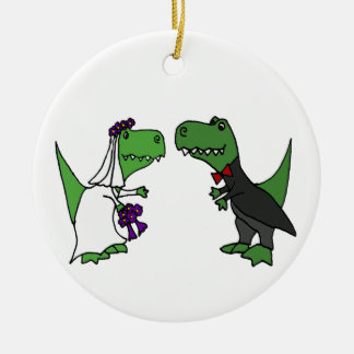 Funny T-rex Dinosaur Bride and Groom Wedding Art Double-Sided Ceramic Round Christmas Ornament