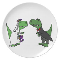 Funny T-rex Dinosaur Bride and Groom Wedding Art Plate