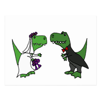 Funny T-rex Dinosaur Bride and Groom Wedding Art Postcard
