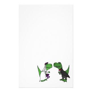 Funny T-rex Dinosaur Bride and Groom Wedding Art Stationery