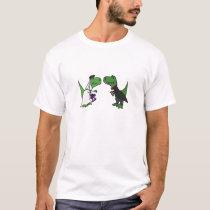 Funny T-rex Dinosaur Bride and Groom Wedding Art T-Shirt