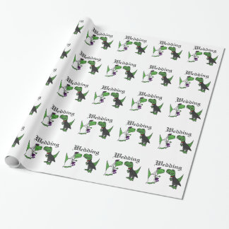Funny T-rex Dinosaur Bride and Groom Wedding Art Wrapping Paper