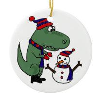 Funny T-Rex Dinosaur Building Snowman Ceramic Ornament