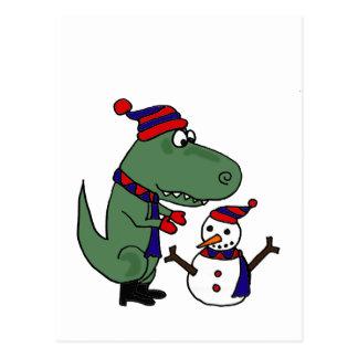Funny T-Rex Dinosaur Building Snowman Post Cards